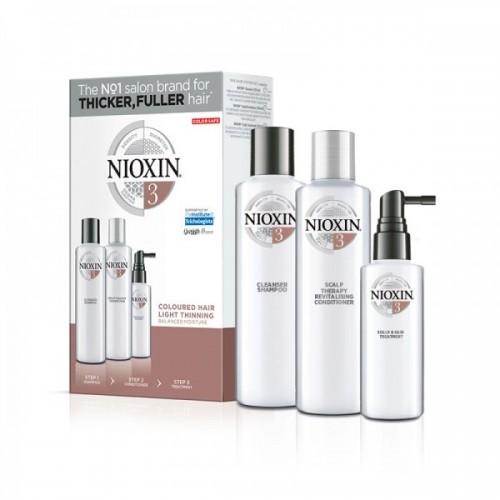 Nioxin Kit Σύστημα 3 για βαμμένα μαλλιά με ελαφριά αραίωση (shampoo 150ml, conditioner 150ml, treatment 40ml)