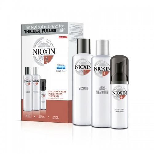 Nioxin Kit System 4 για για βαμμένα μαλλιά με διάχυτη αραίωση (shampoo 150ml, conditioner 150ml, treatment 40ml)