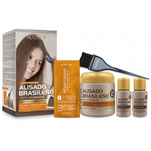 Kativa Brazilian Straightening Kit (Shampoo 15ml, Treatment 150ml, Shampoo 30ml, Conditioner 30ml)