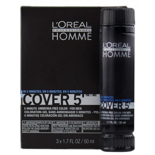 L'Oreal Professionnel Homme Cover 5' 3x50ml No5 Καστανό Ανοιχτό