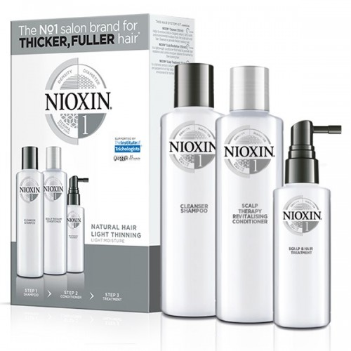 Nioxin TRIAL KIT 1 για φυσικά μαλλιά με ελαφριά αραίωση (shampoo 150ml, conditioner 150ml, treatment 50ml)