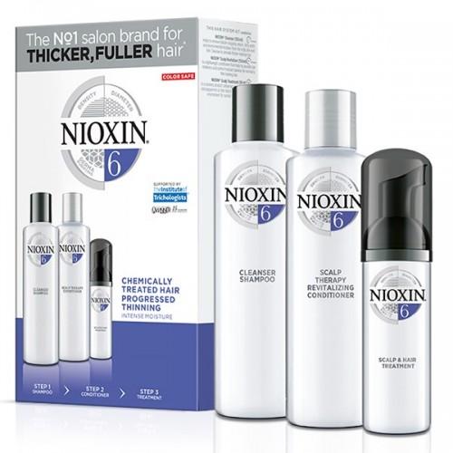 Nioxin Loyalty Kit 6 για μαλλιά με χημικές εργασίες με διάχυτη αραίωση (shampoo 300ml, conditioner 300ml, treatment 100ml)