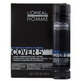 L'Oreal Professionnel Homme Cover 5' 3x50ml No5 Καστανό Ανοιχτό